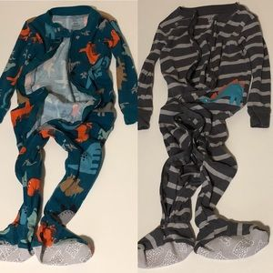 Lot of 2 Carters Footed Pajamas 18 months